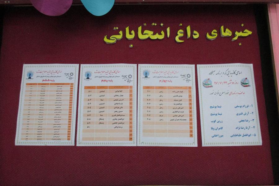 وعده های نامزدهای نهایی انتخاب شورای دانش آموزی